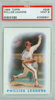1986 Topps Baseball 246 Phillies Leaders PSA 9 Mint