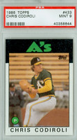 1986 Topps Baseball 433 Chris Codiroli Oakland Athletics PSA 9 Mint
