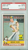 1976 Topps Baseball 134 Mike Ivie San Diego Padres PSA 8 Near Mint to Mint