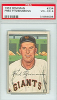1952 Bowman Baseball 234 Fred Fitzsimmons High Number New York Giants PSA 4 Very Good to Excellent [31864096]