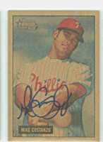 Mike Costanzo AUTOGRAPH 2005 Bowman Heritage 1951 Bowman Design Thick Mahogany Var Phillies 