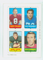 1969 Topps Football 4-1s Wilson|Michaels|Gambrell|Gros Excellent to Mint