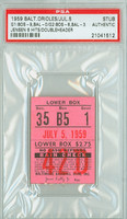 1959 Baltimore Orioles Ticket Stub vs Boston Red Sox Jackie Jensen 6 Hits in DH Red Sox Doubleheader Sweep  - July 5, 1959 [VG-EX]