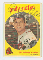 Andy Pafko AUTOGRAPH d.13 1959 Topps #27 Braves CARD IS CLEAN VG/EX  [SKU:PafkA1878_T59BBC]