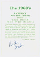 Rich Beck AUTOGRAPH 1978 TCMA The Sixties Back Signed Yankees 