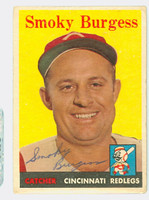 Smoky Burgess AUTOGRAPH d.91 1958 Topps #49 Reds CARD IS G-VG, NO CREASES