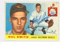 Hal W. Smith AUTOGRAPH 1955 Topps #8 Orioles CARD IS F-P, TAPE, SL PAPER LOSS ON REV