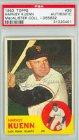 Harvey Kuenn AUTOGRAPH d.88 1963 Topps Giants PSA/DNA 