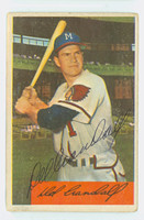 Del Crandall AUTOGRAPH 1954 Bowman #32 Braves CARD IS F/G; CREASE