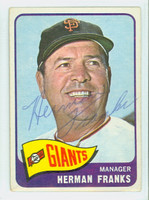 Herman Franks AUTOGRAPH d.09 1965 Topps #32 Giants CARD IS VG