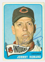 Johnny Romano AUTOGRAPH 1965 Topps #17 Indians CARD IS VG; REV STAIN