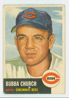 1953 Topps Baseball 47 Bubba Church Cincinnati Reds Poor