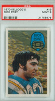 1970 Kellogg Football 19 Dick Post San Diego Chargers PSA 9 Mint