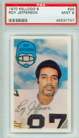 1970 Kellogg Football 24 Roy Jefferson Pittsburgh Steelers PSA 9 Mint