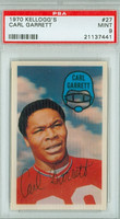 1970 Kellogg Football 27 Carl Garrett New England Patriots PSA 9 Mint
