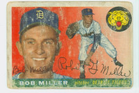 Bob G Miller AUTOGRAPH 1955 Topps #9 Tigers CARD IS VERY POOR; FADED