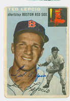 Ted Lepcio AUTOGRAPH 1954 Topps #66 Red Sox CARD IS F/P; CREASES  [SKU:LepcT264_T54BBLGX]