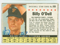 Billy O' Dell AUTOGRAPH 1961 Post #155 Giants BOX CARD IS VG  [SKU:ODelB1849_PO61BBVaLG1]