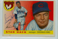 Stan Hack AUTOGRAPH d.79 1955 Topps #6 Cubs  CARD IS POOR