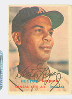 Hector Lopez AUTOGRAPH 1957 Topps #6 Athletics  CARD IS G/VG