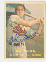 Hal W. Smith AUTOGRAPH 1957 Topps #41 Athletics  CARD IS F/P; HEAVY CREASE  [SKU:SmitH5546_T57BBr1jl]