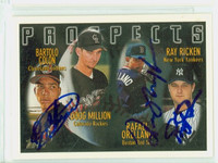 Ray Ricken TRIPLE SIGNED 1996 Topps Prospects Yankees   [SKU:RickR20121_T96BB3S]