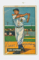 Sam Chapman AUTOGRAPH d.06 1951 Bowman #9 Athletics CARD IS F/G; CREASING
