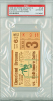 1948 Baltimore Colts Ticket Stub vs Cleveland Browns Y.A. Tittle 78 Yd TD Pass - Browns 14-10  October 5, 1948 PSA/DNA Authentic Slabbed