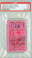 1955 New York Yankees Ticket Stub vs Cleveland Indians Mickey Mantle HR #108 - August 4, 1955 [Y55_Yank0804S_p3_mk] Very Good