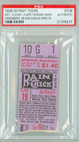 1936 Detroit Tigers Ticket Stub vs Chicago White Sox Schoolboy Rowe Win #52 Hank Greeberg 3B #28  - April 19, 1936 PSA/DNA Authentic Slabbed