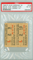1949 St. Louis Cardinals Ticket Stub vs Cincinnati Reds Stan Musial 4 Hits in Doubleheader - May 30, 1949 Near Mint to Mint