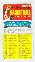 1970 Topps Basketball 101 Checklist Two Good to Very Good
