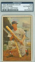 Hoot Evers AUTOGRAPH d.91 1953 Bowman Color #25 Red Sox PSA/DNA CARD IS G/VG; CRN WEAR, AUTO CLEAN  [SKU:EverH1197_BW53BBCAPpa]