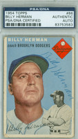 Billy Herman AUTOGRAPH d.92 1954 Topps #86 Dodgers PSA/DNA CARD IS F/G; CRN WEAR, CHIPPING, AUTO CLEAN  [SKU:HermB88_T54BBAPpa]