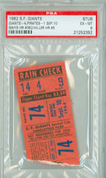 1962 San Francisco Giants Ticket Stub vs Pittsburgh Pirates Willie Mays HR #362 Chuck Hiller HR #5  - September 10, 1962 Excellent to Mint