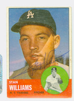 Stan Williams AUTOGRAPH 1963 Topps #42 Yankees 