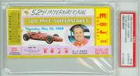 1968 Indianapolis 500 Ticket Stub - Bobby Unser May 30 1968 PSA/DNA Authentic