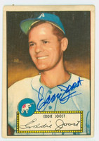 Eddie Joost AUTOGRAPH d.11 1952 Topps #45 Athletics RED BACK CARD IS G/VG; CRN DING, AUTO CLEAN  [SKU:JoosE1920_T52BBcpl]