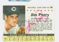 Jim Perry AUTOGRAPH 1961 Post #59 Indians BOX CARD IS G/VG; SL CREASE, AUTO CLEAN  [SKU:PerrJ1680_PO61BBVacpl]