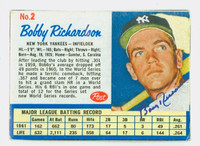 Bobby Richardson AUTOGRAPH 1962 Post #2 Yankees CARD IS VG; AUTO CLEAN