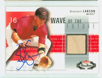 Brandon Larson AUTOGRAPH 2003 Fleer Wave of the Future - Embedded Bat Reds 