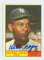 Hector Lopez AUTOGRAPH 1961 Topps #28 Yankees CARD IS VG; AUTO CLEAN  [SKU:LopeH698_T61BBCpl]