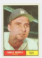 Charlie Maxwell AUTOGRAPH 1961 Topps #37 Tigers CARD IS VG/EX; AUTO CLEAN  [SKU:MaxwC721_T61BBCpl]