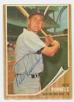 Pete Runnels AUTOGRAPH d.91 1962 Topps #3 Red Sox CARD IS VG/EX; OC T/B, AUTO CLEAN