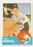 Jerry Kindall AUTOGRAPH 1963 Topps #36 Indians CARD IS CLEAN EX
