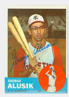 George Alusik AUTOGRAPH 1963 Topps #51 Athletics CARD IS VG/EX; AUTO CLEAN