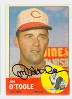 Jim O' Toole AUTOGRAPH d.15 1963 Topps #70 Reds CARD IS VG/EX; AUTO CLEAN