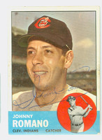 Johnny Romano AUTOGRAPH 1963 Topps #72 Indians CARD IS VG; LT WAX
