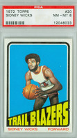 1972 Topps Basketball 20 Sidney Wicks ROOKIE Portland Trail Blazers PSA 8 Near Mint to Mint
