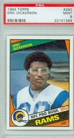 1984 Topps Football 280 Eric Dickerson Los Angeles Rams PSA 9 Mint
